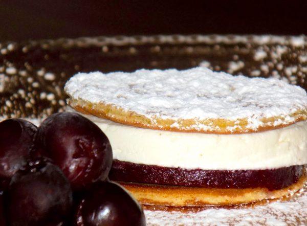 Dark Cherry Jelly and Mascarpone Cream in a Fried Sponge Cake