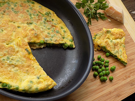 Frittata with Peas, Parmigiano and Parsley
