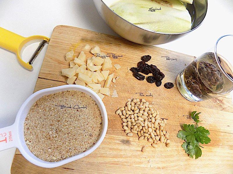 Ingredients-Original Sicilian Eggplant Rolls Recipe