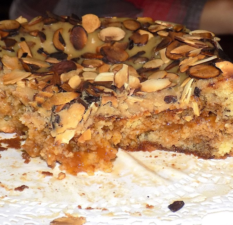 Airfryer Mocha Apricot Cake with Roasted Almonds