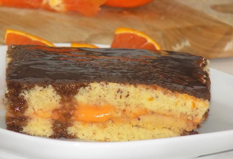 A Square Blood Orange Cake with Chocolate Ganache
