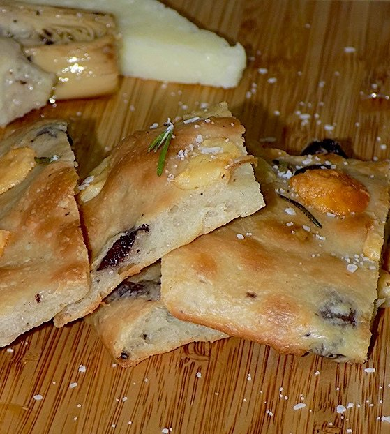 Schiacciata-Flatbread with Black Olives, Rosemary and Cheese