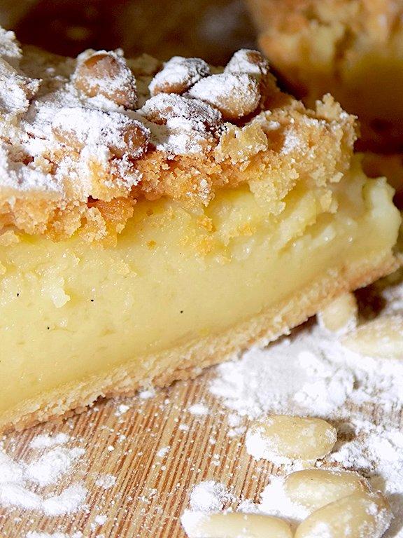 Torta della Nonna with a Sprinkling of Powdered Sugar