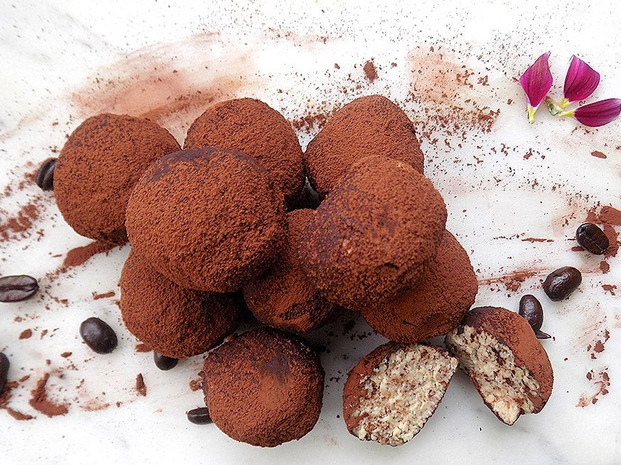 Ricotta, Almond, and Coffee-flavored Truffles