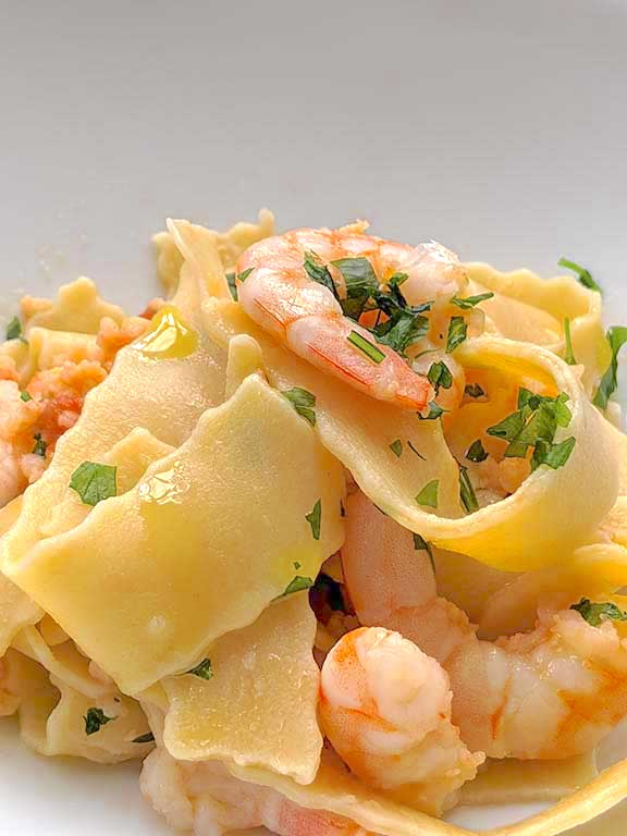 Homemade Pappardelle with Shrimps
