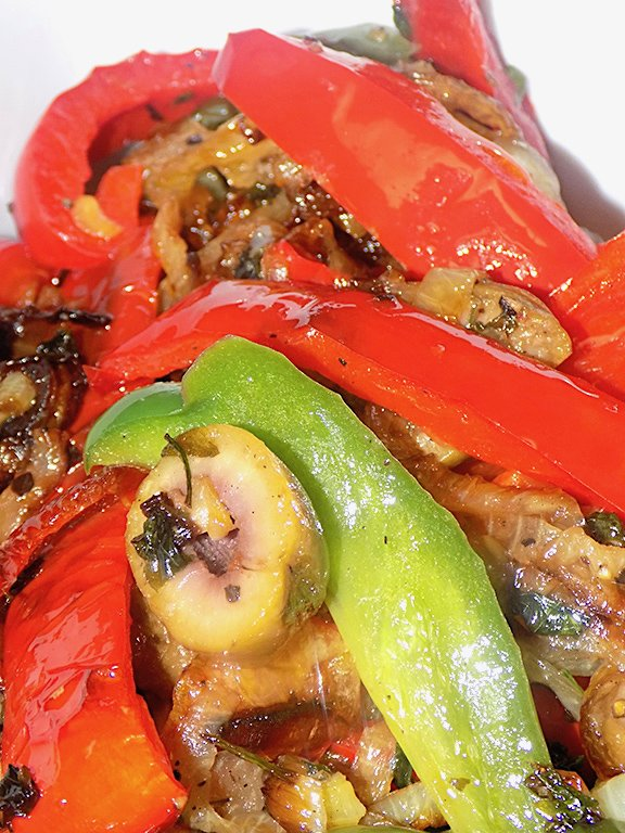 Peppers with Onion, Green Olives, and a Handful of Parsley