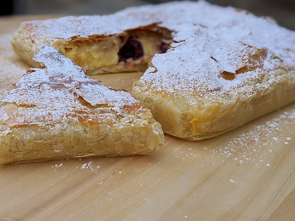 Puff Pastry with Vanilla Cream and Dark Cherries.