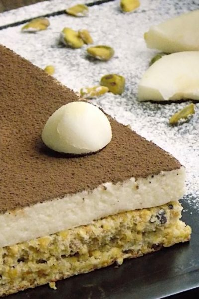 Pistachio and Pear Cake with Domes