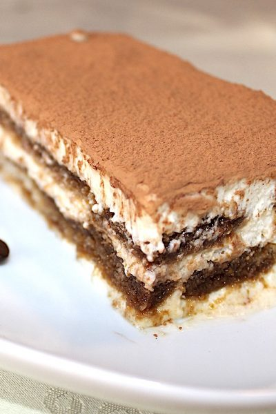 The Traditional Tiramisu with Mascarpone and Coffee