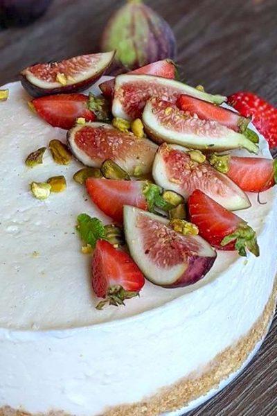Vanilla Gelato Cake with Strawberries and Figs