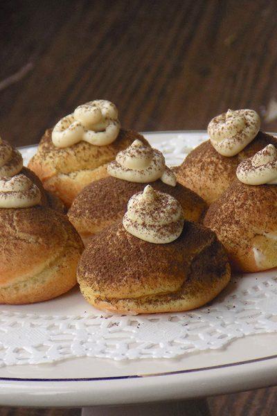 Bigne (choux pastry) with Tiramisu Mascarpone Cream