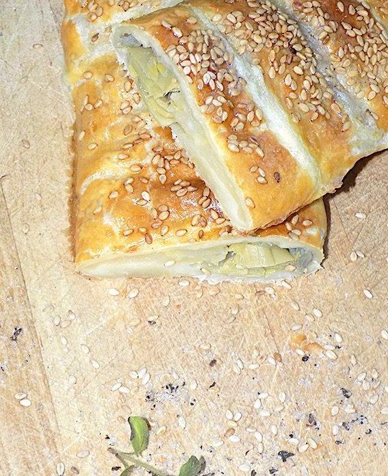 Rustic Savory Pie with Artichokes and Mozzarella