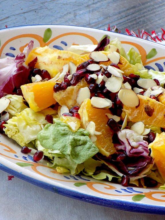 Winter Salad Recipe with Pomegranate, Orange, and Almonds