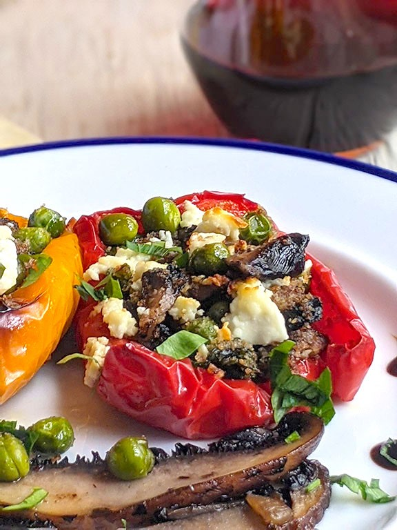 Best Stuffed Peppers with Peas, and Goat Cheese.