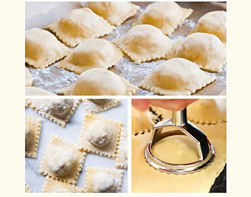 The best classic Italian round and square ravioli cutter with wooden handle