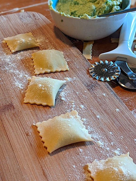 Ravioli with Broccoli and Goat Cheese